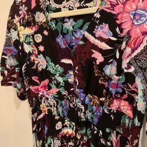Floral print bohemian maxi dress